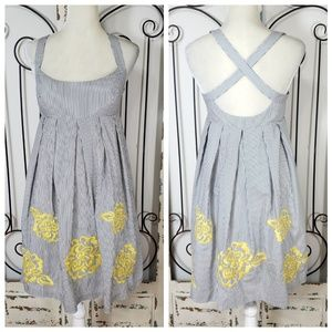 INC striped embroidered dress size 6